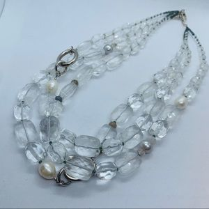 Silpada Sterling Silver, Quartz, Pearls Necklace
